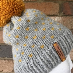 Knitted grey fair isle beanie, mustard hat, grey beanie, beanie, slouchy hat