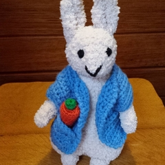 """Peter"" rabbit inspired - Easter Bunny approx 20cm tall - hand knitted soft toy."