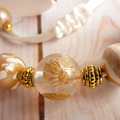 Elegant Beadwork Necklace, White/Gold Seashells in a Resin Bead & Clay Beads