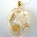 Beach Lovers Gift - Large Oval Beach Necklace With White/Gold Shells