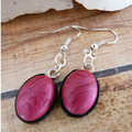 Pink Fern Print Necklace & Dangle Earring Set, White Choker