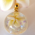 Delicate White Polymer Clay Frangipani Domed Pendant With Opal Background