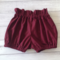 High waisted shorts burdungy linen-look cotton , size to 3T , choose size