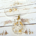 Beach Jewellery, White/Gold Polymer Clay Shells in Resin Scallop Shell
