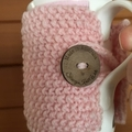 Pink knitted coffee cup cozy, tea cosy, coffee cozy, pink cup warmer