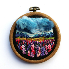 New Zealand High Country Meadow Lupins Hand Embroidered Landscape Hoop Art