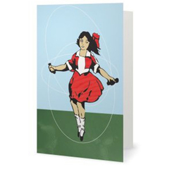 Little Audrey Skipping Girl Greeting Card