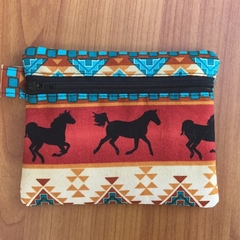 Tribal Horses Coin Purse - Brown