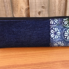 Upcycled Denim/Batik Pencil Case