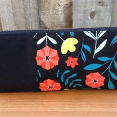 Black Floral Triangle Pencil Case