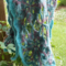crochet lace wrap made from mohair blend yarn blue and mauve ON SALE!!!!