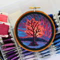 Sunset Fire Tree Hand Embroidered Landscape Hoop Embroidery Art, Thread painting