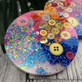 Mug Coasters - PINK Buttons For Drink or as a Paperweight - SINGLE- Resin