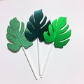 Tropical Leaf Cupcake Toppers,  Green Monstera leaf, jungle, tropical party.