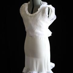 Poetess 2pc Mini Dress (Sheer White Cotton & Cream Modal) Tailor-Made
