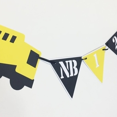 Construction truck 12 month photo banner. First birthday party, photo display.