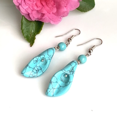 3 Colors: Genuine TURQUOISE, UNAKITE,  AVENTURINE & Calla Lily Lovely Earrings.