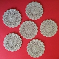 Six Hand Crocheted Coasters in Linen Colour