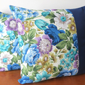 Old Fashioned Sanderson blue ROSES Two Tone Cushion.