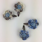 Two Pairs Flower Hair Clips | Blue  & Grey | Gift Idea | Crochet | Ready to Post