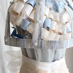 Avant-Garde Indigo Birdcage Wedding Gown Tailor-Made