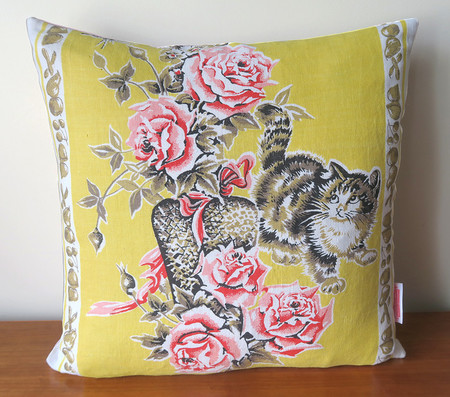Tabby Cat & Kittens Linen Cushion