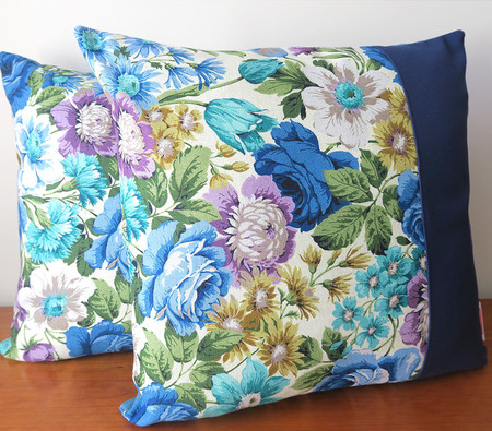 Old Fashioned Sanderson blue ROSES Two Tone Cushions x 2