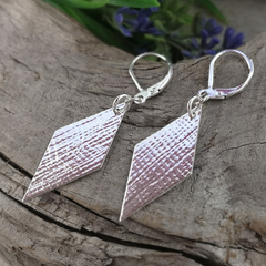 RHOMBUS / DIAMOND Shaped Earrings. Upcycled from Sterling Silver Vintage Spoon.
