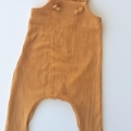"""Mustard Muslin """"Knot Overall"""" you pick size (000-2-3)"""