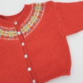 Orange Fairisle Yoke Cardigan - Size 9-12 months - Hand knitted in Wool/Cashmere