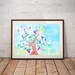 Happy little birds in a tree print.