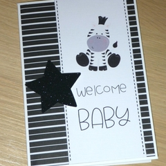 Unisex Welcome baby card - baby zebra