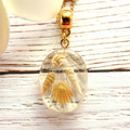 Delicate Beach Style Oval Pendant with Shimmering Sea Shells, on Fine Gold Chain