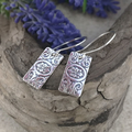 Floral BAR EARRINGS, Sterling Silver, Upcycled from Vintage Silverware.