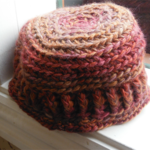crochet hat. bucket style with small brim. wool/soy blend yarn,  ON SALE!!!