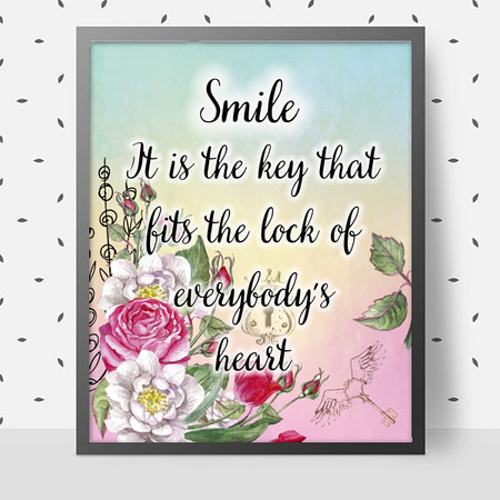 A Smile Fits the Lock Quotation DIY Printable Wall Art