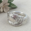 Solid Silver Floral SPOON RING, Upcycled from Vintage Silverware.