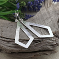 Large RHOMBUS HOOP EARRINGS. Upcycled from Sterling Silver Vintage Spoon.