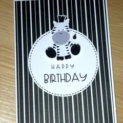 Unisex Happy Birthday card - zebra