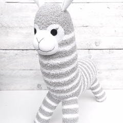 'Albie' the Sock Alpaca - grey & white stripes  - *READY TO POST*