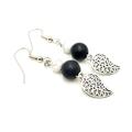 Leaf Earrings w Black and Marble Beads