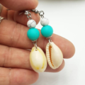 Cowrie Shell Earrings with Turquoise & Marble Beads
