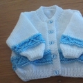 Baby Boys White and Blue Patterned Cardigan to fit Newborn.