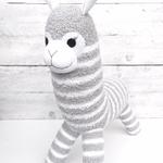 'Albie' the Sock Alpaca - grey & white stripes  - *READY TO POST*