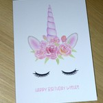 Girls Birthday card - watercolour unicorn