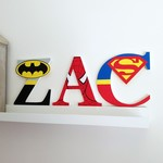 Name Plaque for Wall or Door. 17cm Super Hero Theme. 3 letters