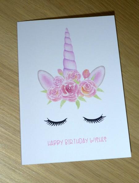 Girls Birthday card - watercolour unicorn