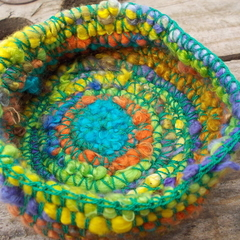 Crocheted basket made from silk and vintage rayon. Multi-colour, small