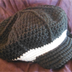 Crocheted slouch style cap with brim wool and cotton 52 to 53cm head ON SALE!!!