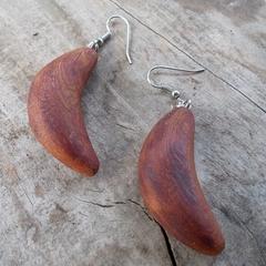 Bend earrings. Handcrafted from reclaimed canadian cedar sterling silver hooks.